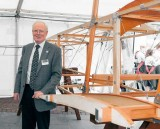 Allan Winn, Director of the Brooklands Museum, with the reproduction Sopwith Tabloid floatplane