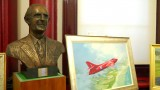 Ambrose Barber's Sir Sydney Camm bust and Mark Bromley Hawker Hunter painting
