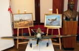 Mark Bromley paintings, Ambrose Barber's bust of Sir Sydney Camm and Hurricane model