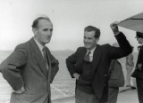 Winter 1946/47 - Sydney Camm and Bill Humble on the deck of HMS Victorious off the coast of Greenock, Scotland, during the deck trials of the Sea Fury.