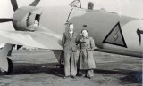 George Cottrell (left) with a Sea Fury of the Iraq Air Force at Langley, circa 1947 - 1948