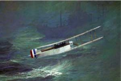 The Sopwith Atlantic ditching into the ocean in sight of a Danish ship