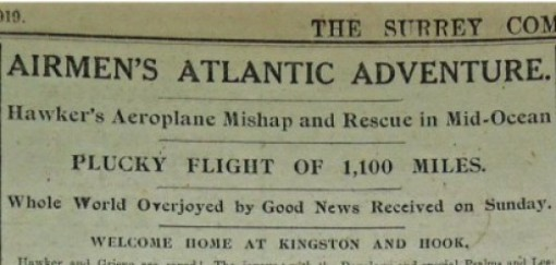 Headline from the Surrey Comet 28th May 1919