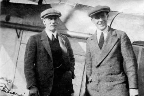 Lt. Cmdr Mackenzie Grieve and Harry Hawker in front of their Sopwith Atlantic
